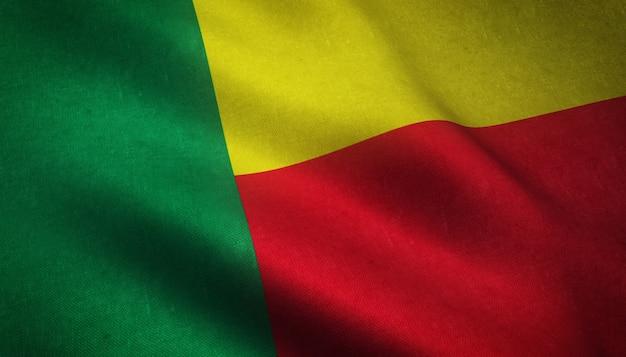 흥미로운 텍스처와 베냉의 국기의 근접 촬영 샷