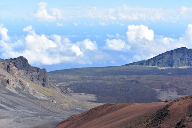 パノラマの岩が多い火山の風景とマウイ島の火山の盾のクローズアップショット