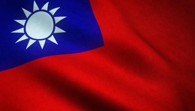 Снимок крупным планом реалистичного флага тайваня с интересными текстурами