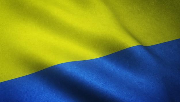興味深いテクスチャでウクライナの現実的な旗のクローズアップショット