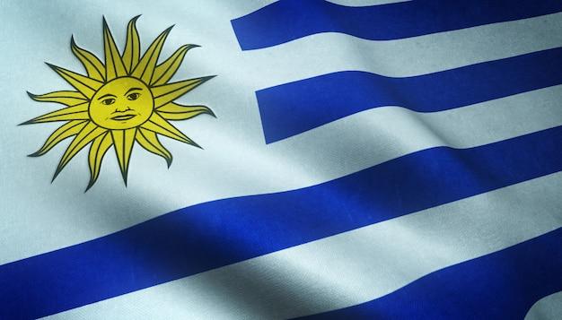 興味深いテクスチャとウルグアイの現実的な旗のクローズアップショット