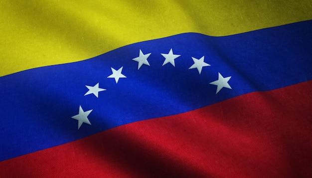 興味深いテクスチャでベネズエラの現実的な旗のクローズアップショット