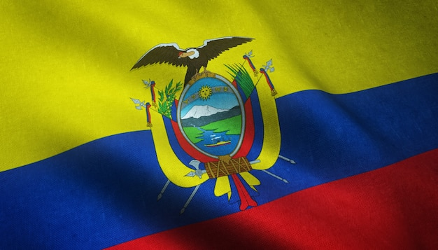 Снимок крупным планом развевающегося флага эквадора с интересными текстурами