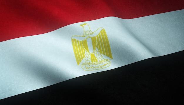 興味深いテクスチャでエジプトの手を振っている旗のクローズアップショット