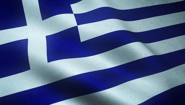 興味深いテクスチャでギリシャの手を振っている旗のクローズアップショット