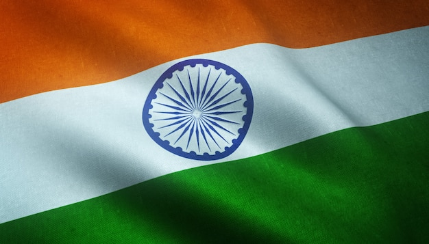 興味深いテクスチャとインドの手を振る旗のクローズアップショット