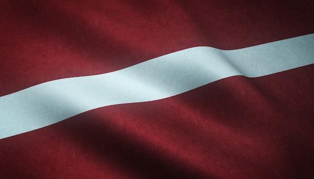 興味深いテクスチャとラトビアの旗を振っているのクローズアップショット