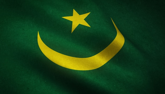 興味深いテクスチャとモーリタニアの旗を振っているのクローズアップショット