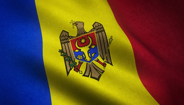 興味深いテクスチャとモルドバの旗を振っているのクローズアップショット