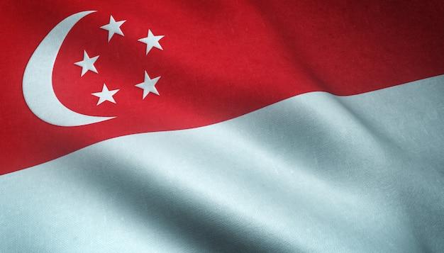 흥미로운 텍스처와 싱가포르의 흔들며 깃발의 근접 촬영 샷