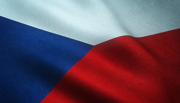 興味深いテクスチャとチェコ共和国の手を振っている旗のクローズアップショット