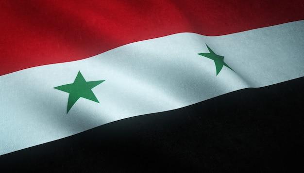 興味深いテクスチャとシリア連合共和国の手を振っている旗のクローズアップショット