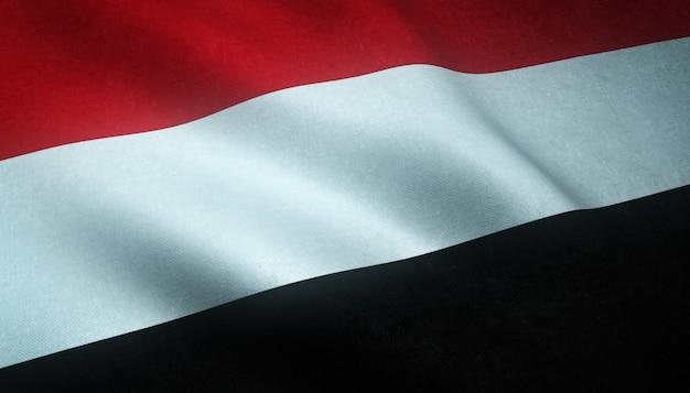 興味深いテクスチャとイエメンの旗を振っているのクローズアップショット