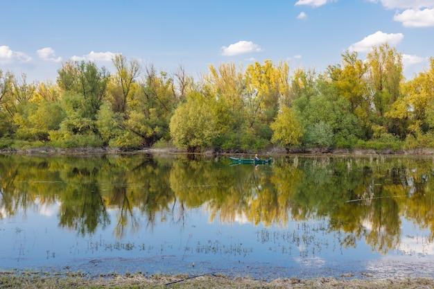 밝은 하늘 아래 호수에 반사된 나무의 근접 촬영 샷