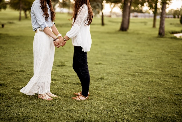 잔디 필드에 서있는 동안 손을 잡고 두 여성의 근접 촬영 샷 흐리게