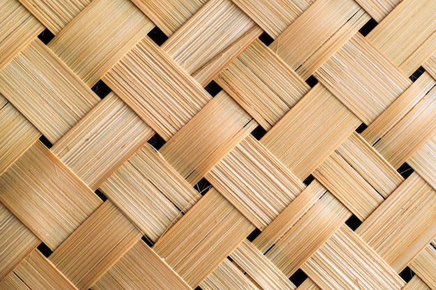 Closeup shot of the old bamboo weave texture