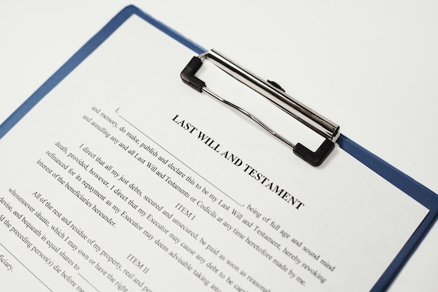 Closeup shot of a person's last will and testament