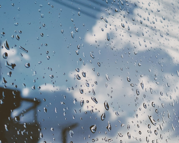 Closeup shot of raindrops on a glass window