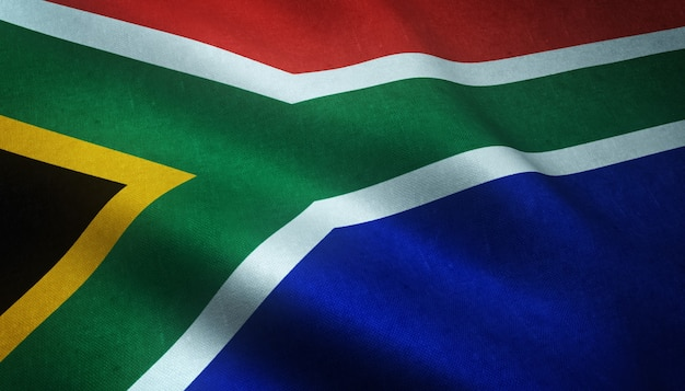 Closeup shot of the realistic flag of south africa with interesting textures