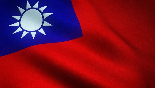 Closeup shot of the realistic flag of taiwan with interesting textures