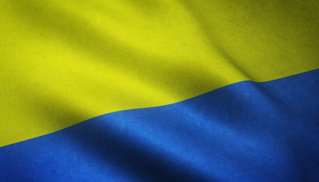 Closeup shot of the realistic flag of ukraine with interesting textures