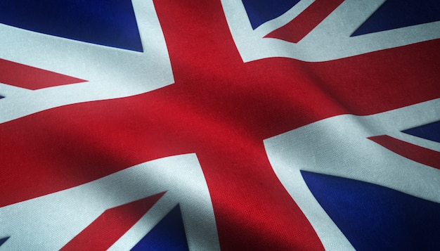 Closeup shot of the realistic flag of the united kingdom with interesting textures