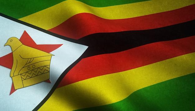 Colpo del primo piano della bandiera realistica dello zimbabwe con trame interessanti