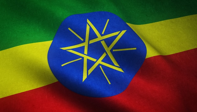 Closeup shot of realistic waving flag of ethiopia with interesting textures