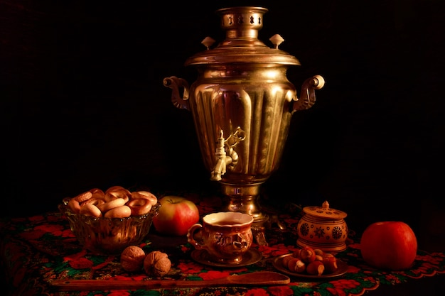 Closeup shot of a samovar in a beautiful interior setting