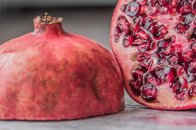 Closeup shot of a sliced pomegranate