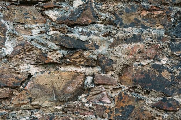 Colpo del primo piano della struttura del muro di pietra