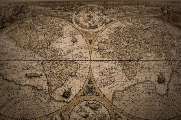 Closeup shot of a vintage world map made with puzzles