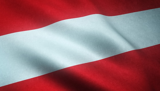 Colpo del primo piano della sventola bandiera dell'austria con trame interessanti