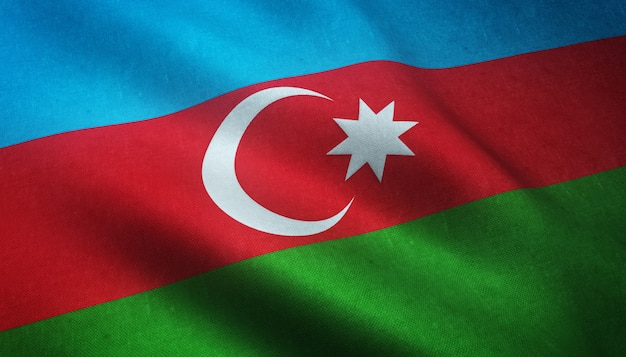 Closeup shot of the waving flag of azerbaijan with interesting textures