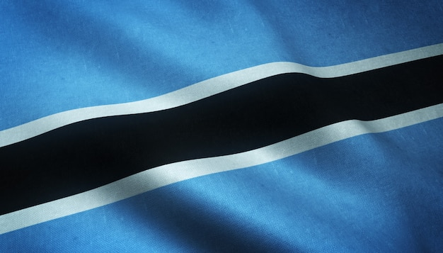 Closeup shot of the waving flag of botswana with interesting textures