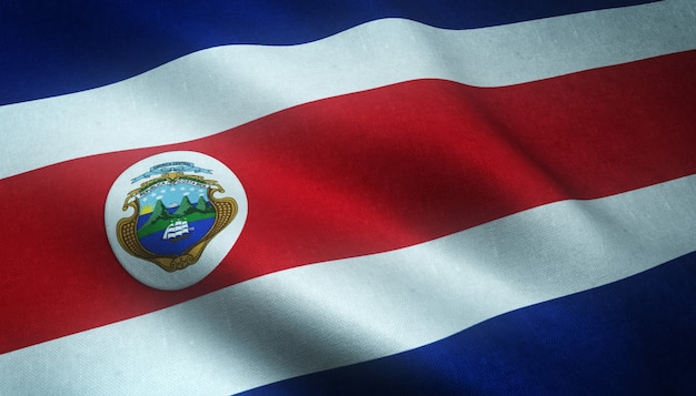 Closeup shot of the waving flag of costa rica