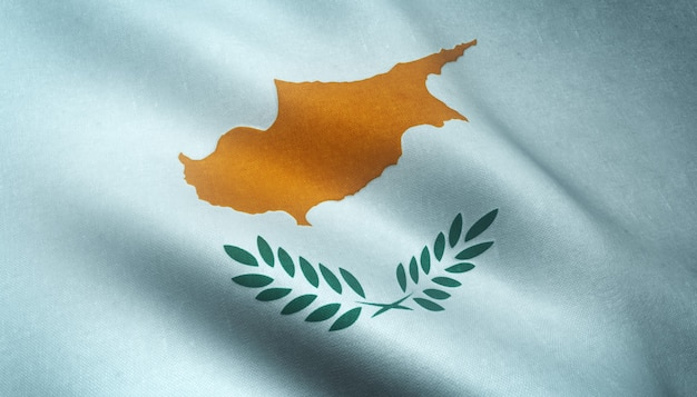 Closeup shot of the waving flag of cyprus with interesting textures