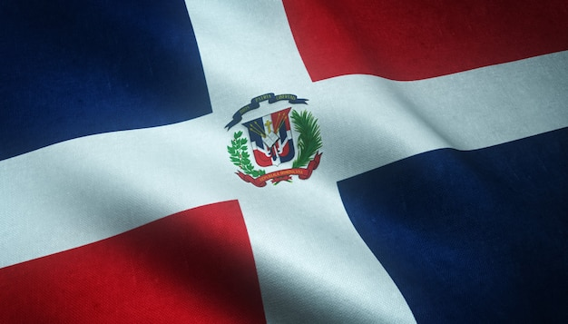 Closeup shot of the waving flag of dominican republic with interesting textures
