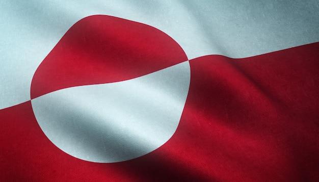 Colpo del primo piano della sventola bandiera della groenlandia