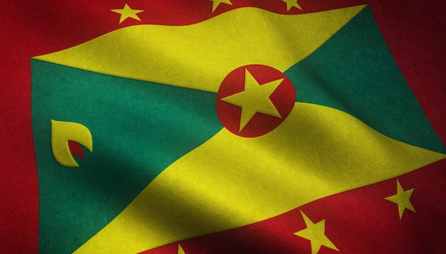 Closeup shot of the waving flag of grenada with interesting textures