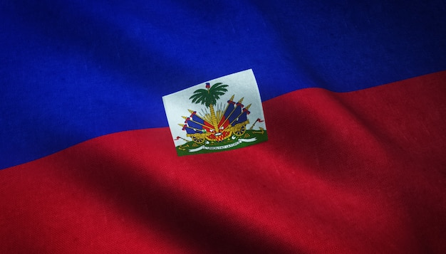 Closeup shot of the waving flag of haiti with interesting textures