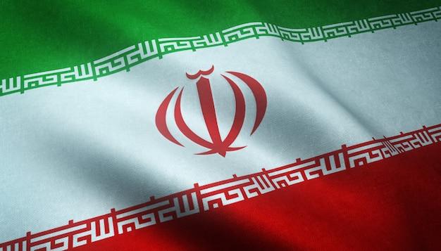Closeup shot of the waving flag of iran
