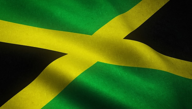 Closeup shot of the waving flag of jamaica with interesting textures