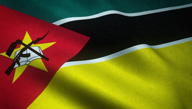 Closeup shot of the waving flag of mozambique