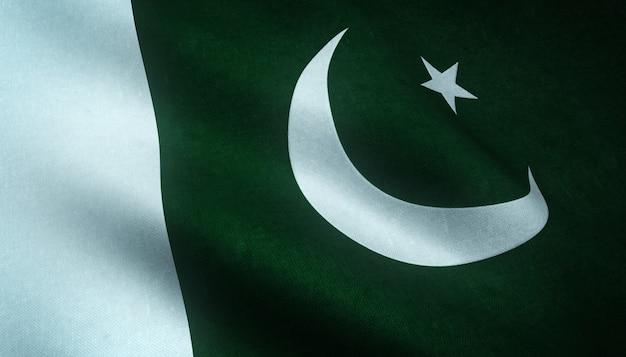 Colpo del primo piano della sventola bandiera del pakistan con trame interessanti