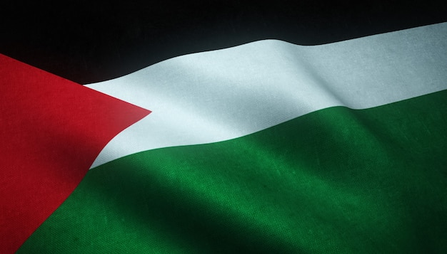 Closeup shot of the waving flag of palestine