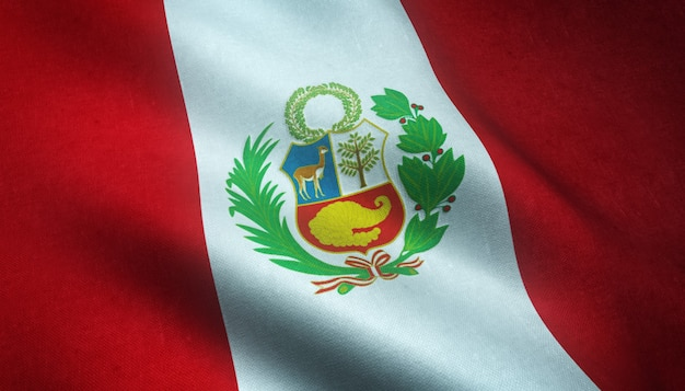 Closeup shot of the waving flag of peru with interesting textures