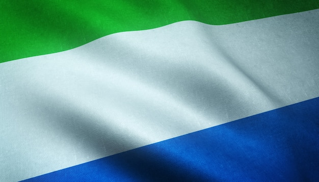 Closeup shot of the waving flag of sierra leone with interesting textures