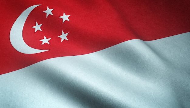 Closeup shot of the waving flag of singapore with interesting textures