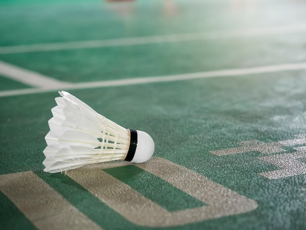Closeup shot of white badminton shuttlecock on green court.